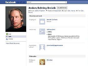 Das Facebook-Profil von Breivik.
