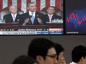 An den Börsen wurde die Rede Obamas mit Spannung erwartet.