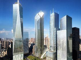 Die Vision: Links neben 1 WTC steht das von Silverstein erträumte 2 WTC. 7 WTC steht ganz rechts im Schatten.