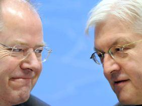 Steinbrück und Steinmeier watschen den linken Flügel der Partei ab.