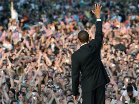 Jubel an der Siegessäule: Selbst in Deutschland war Obama 2008 ein Publikumsmagnet.
