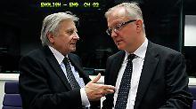 EZB-Chef Trichet (links) mit EU-Währungskommissar Rehn in Luxemburg.