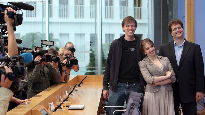 Andreas Baum, Marina Weisband, Sebastian Nerz (v.l.n.r.).