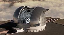 Illustration des von der Europäischen Südsternwarte (ESO) geplanten European Extremely Large Telescope (E-ELT), das in Nordchile errichtet werden soll.