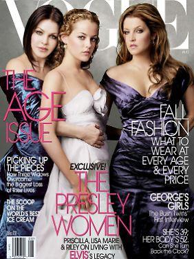 Drei Mal Presley: Priscilla, Tochter Lisa Marie (r) und Riley Keough (m), Elvis' Enkelin.