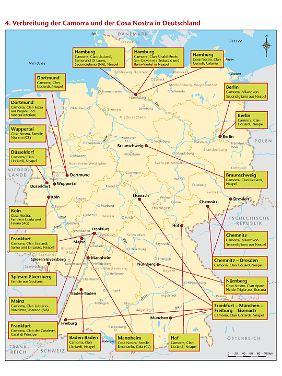 """Verbreitung u.a. der Cosa Nostra in Deutschland (Karte aus Francesco Forgione """"Mafia Export"""")."""