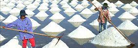 In Thailand wird die trockene Jahreszeit für die Salzgewinnung genutzt. Auf ausgedehnten ufernahen Feldern verdunstet das Meerwasser in der Sonne.