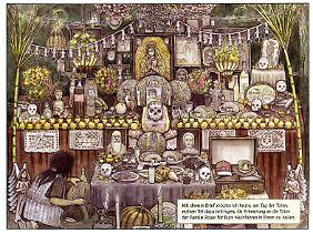 Der bunt geschmückte Altar für die Toten.
