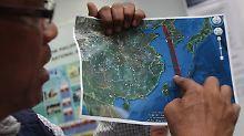 Die geplante Flugrichtung der Rakete tangiert nahezu den Luftraum Südkoreas.