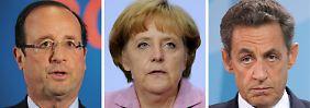 Hollande, Merkel, Sarkozy - wie auch immer die Wahl in Frankreich ausgeht, für Merkel dürfte es schwieriger werden, ihre Politik in der EU durchzusetzen.