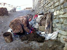 Eine Frau formt Tierkot auf dem Boden in Chynalyg.