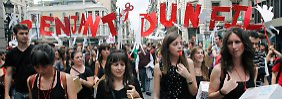 Proteste in Kataloniens Hauptstadt Barcelona gegen Kürzungen im Bildungswesen.