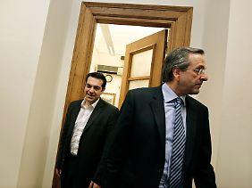 Mögliche Ministerpräsidenten: Antonis Samaras (vorn) und Alexis Tsipras.