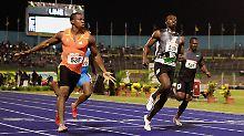 Yohan Blake (l.), schneller als Usain Bolt (M.).