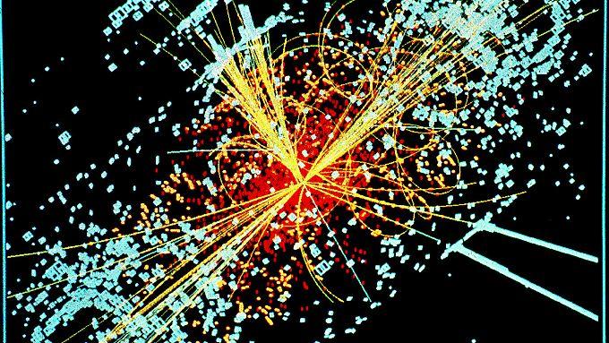 Die Illustration zeigt, wie ein Higgs-Teilchen zerfallen könnte.