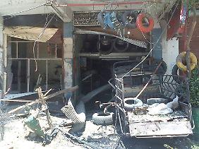 Das war mal ein Laden. Manche Vororte von Damaskus sind bereits schwer zerstört.
