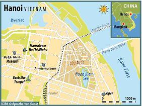 Dicht an dicht leben in der Altstadt 90.000 Menschen. Im Zentrum des Gassengewirrs liegt der als Zuflucht und Erholungsort beliebte Hoan-Kiem-See.