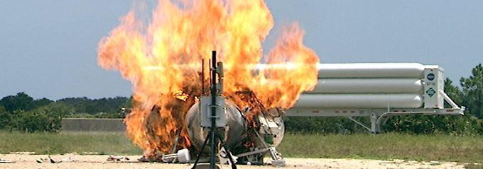 Sekunden nach dem Start stürzte das Weltraumfahrzeug wieder ab und explodierte.