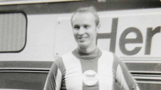 Hertha-Fan Helmut Klopfleisch im März 1979 in Prag.
