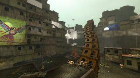 Eine bewegliche Schlange aus magnetischen Häusern hilft dem Spieler über ein Hindernis.