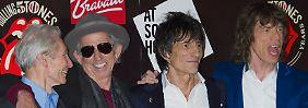 Charlie Watts, Keith Richards, Ronnie Wood and Mick Jagger im Juli 2012 anlässlich ihres 50-jährigen Bandjubiläums.