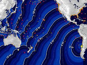 Diese Grafik zeigt die Ausbreitung des Tsunamis nach dem Chile-Beben.