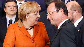 Schwierige Gespräche zwischen Angela Merkel und François Hollande.