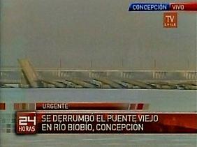 Brückeneinsturz über dem Biobio in der gleichnamigen Region.