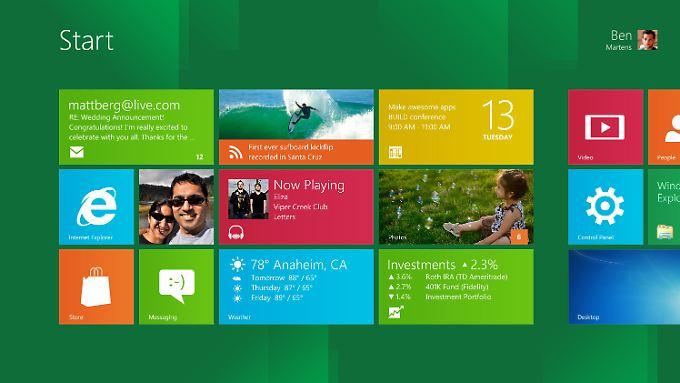 Kacheln statt Symbole: die Standard-Navigationszentrale bei Windows 8.