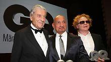"""Modeschöpfer Nino Cerruti, der britische Schauspieler Ben Kingsley und der britische Musiker Mick Hucknall wurden als """"Männer des Jahres"""" geehrt (v.l.)."""