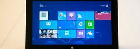 Das Kachel-Design von Windows 8 überzeugt auf dem Tablet.