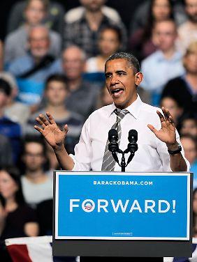 """""""Vorwärts!"""", vier weitere Jahre erhofft sich Barack Obama."""