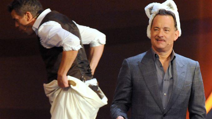 Mit der Katzenmütze auf dem Kopf fühlte sich Hanks besonders wohl.