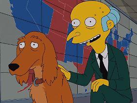 Der Hund hat zwei Optionen - und wählt die dritte: den Sprung durch die Wahlkarte im Hintergrund.