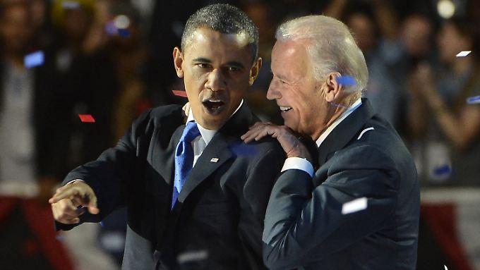 Obama mit seinem Vizepräsidenten Joe Biden in der Wahlnacht.