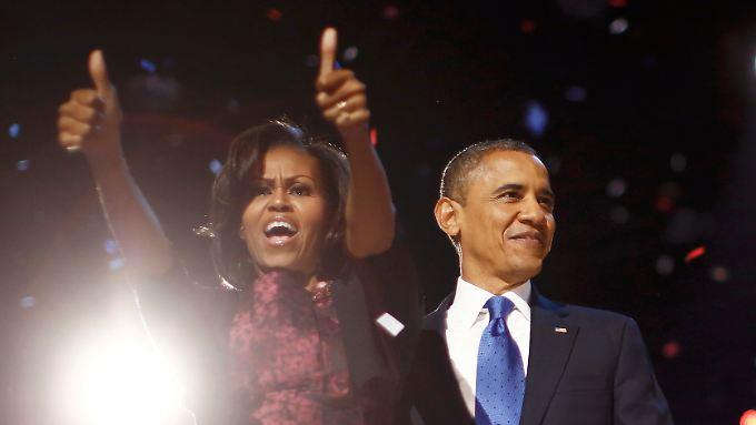 Ehefrau Michelle freut sich über den Wahlsieg ihres Mannes. Sie hatte sich im Wahlkampf mit Auftritten für ihn stark gemacht.