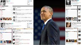 Die Bildkombo zeigt die Tweets der US-Sängerinnen Cher (oben, l), Katy Perry (unten, l), La Toya Jackson (unten, r) und US-Schauspielerin Nikki Reed zur Wiederwahl von US-Präsident Barack Obama.