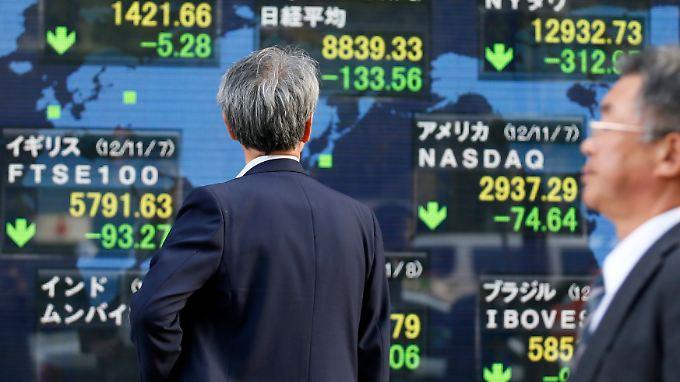 Die Börsen in Tokio haben mit Verlusten auf die Wiederwahl von US-Präsident Obama und das drohende Patt im US-Haushaltsstreit reagiert.
