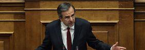 Premierminister Antonis Samaras warb eindringlich für den Sparkurs.