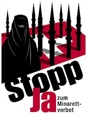 Plakat der Schweizerischen Volkspartei (SVP) zur Volksabstimmung über das Bauverbot von Minaretten.