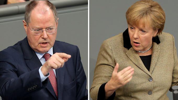 Debatte im Bundestag: Steinbrück und Merkel duellieren sich
