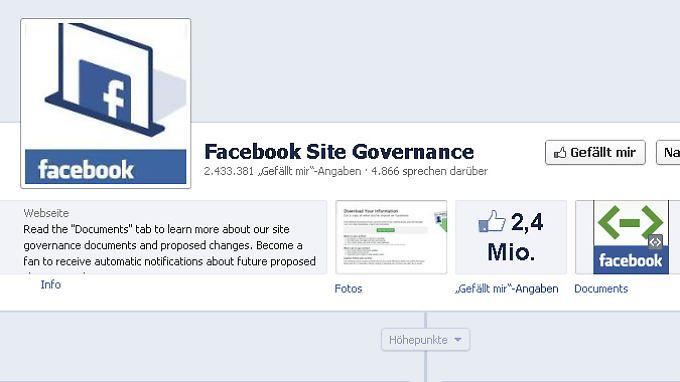 """""""Site Governance"""" heißt die - bislang - demokratische Seite von Facebook."""