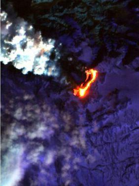 Der Vulkan unter dem Gletscher Eyjafjalla.