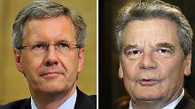 Wer darf die Urkunden unterzeichnen - Wulff (l.) oder Gauck?