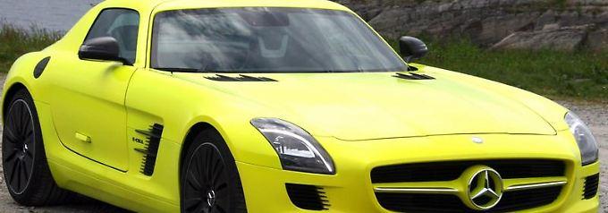 Soll bis zum Jahr 2013 reif für die Serienproduktion sein:der Mercedes SLSmit Elektroantrieb.