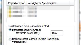 Wichtig: Dateien, die in den Papierkorb wandern, müssen sofort gelöscht werden.