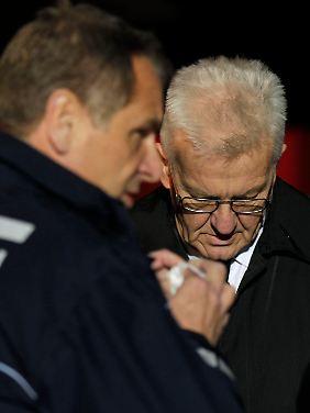 Winfried Kretschmann informierte sich vor Ort über die Lage.