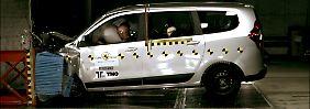 Mit nur drei Sternen schloss der Dacia Lodgy im aktuellen EuroNCAP-Crashtest am schlechtesten ab.