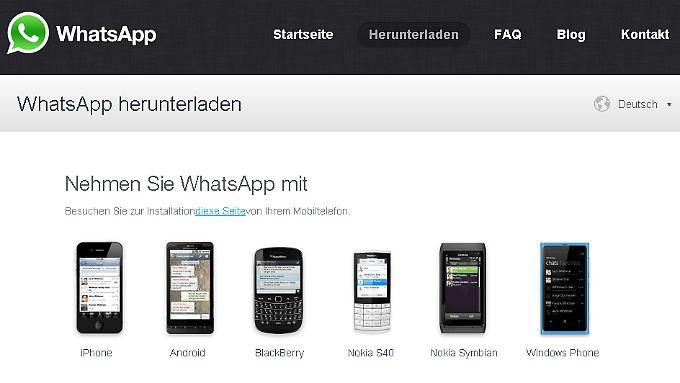 Sechs Apps, sechs Einfalltore? (whatsapp.com / Screenshot n-tv.de)