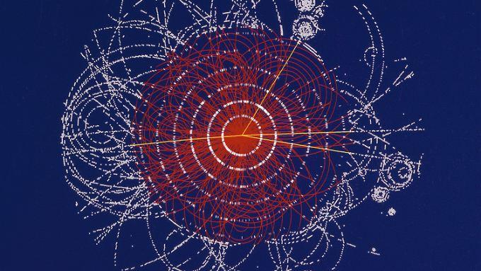 Die Illustration zeigt den Zerfall eines fiktiven Higgs-Boson.